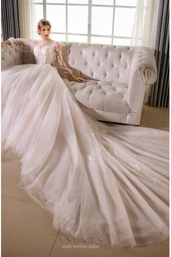 Vestido de novia Sala largo Barco Manga larga tul Natural - Página 3