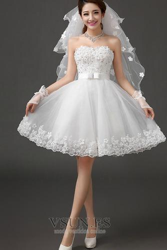 Vestido de novia Sin tirantes Falta Playa Verano Lazos Sin mangas - Página 4