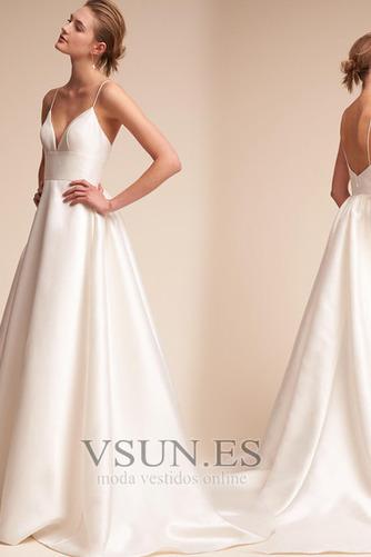 Vestido de novia Falta Escote de Tirantes Espaguetis Corte-A Sin mangas - Página 2