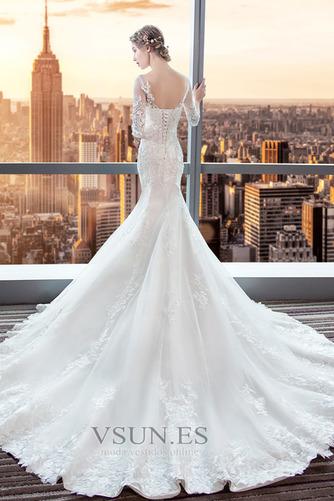 Vestido de novia Corte Sirena Espalda Descubierta Elegante Playa Capa de encaje - Página 4