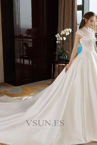 Vestido de novia Capa de encaje Encaje Apliques Escote con cuello Alto - Página 4