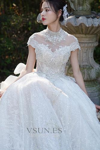Vestido de novia Invierno Iglesia Formal Manga corta Corpiño Acentuado con Perla - Página 4