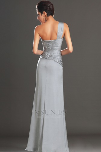 Vestido de cóctel Plata Un sólo hombro Corte Recto Plisado Cintura Baja - Página 5