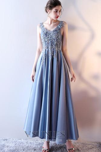 Vestido de fiesta Elegante Escote en V Abalorio Corte-A Satén Hasta el Tobillo - Página 3