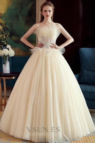 Vestido de novia Sin mangas primavera Corte-A Hasta el suelo tul Apliques - Página 3