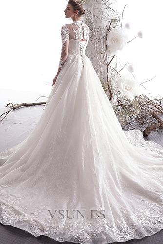 Vestido de novia primavera Escote con cuello Alto Capa de encaje Mangas Illusion - Página 2