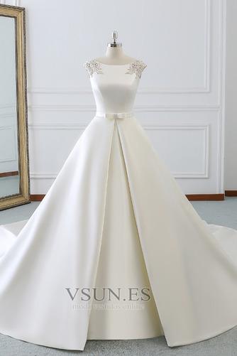 Vestido de novia Invierno Iglesia Cola Barriba Falta Espalda Descubierta - Página 1