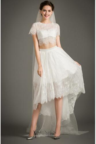 Vestido de novia Cremallera Moderno Asimétrico Dobladillo Camiseta Manga corta - Página 3