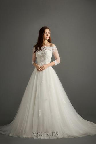Vestido de novia Encaje Corte-A Escote con Hombros caídos Natural Triángulo Invertido - Página 3