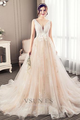 Vestido de novia Corte-A Apliques Baja escote en V Natural Fuera de casa - Página 1