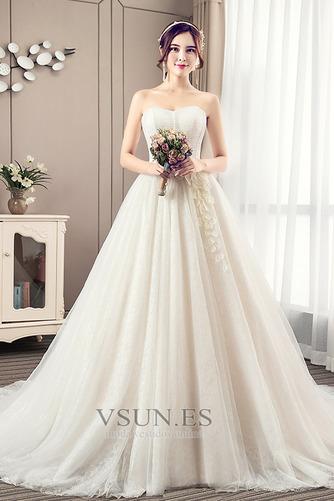 Vestido de novia Elegante Sin mangas Cola Corte Satén Corte-A Apliques - Página 1