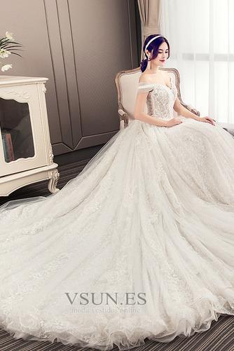 Vestido de novia Natural Encaje primavera Cordón tul Manga corta - Página 4