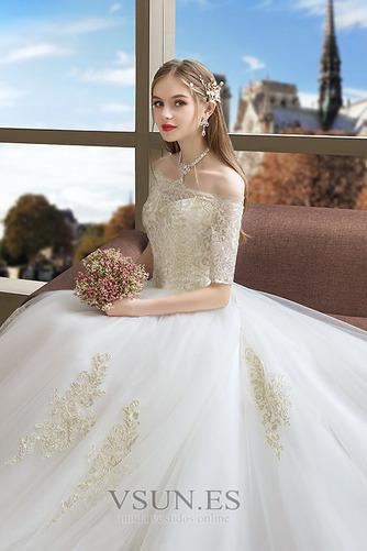 Vestido de novia Capa de encaje Corte-A Cordón Manga corta Natural Cola Catedral - Página 4