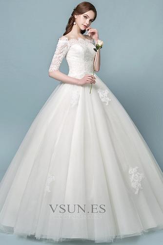 Vestido de novia Elegante Mangas Illusion Falta Capa de encaje Cordón - Página 3