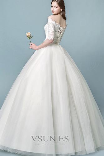 Vestido de novia Elegante Mangas Illusion Falta Capa de encaje Cordón - Página 2