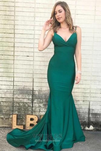 Vestido de fiesta Corte Sirena Escote en V Baja escote en V Drapeado - Página 1