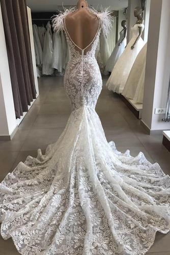 Vestido de novia Playa Drapeado Cremallera Joya Corte Sirena tul - Página 2