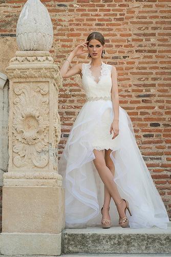 Vestido de novia Cremallera Corte-A Natural Apertura Frontal Cinturón de cuentas - Página 3