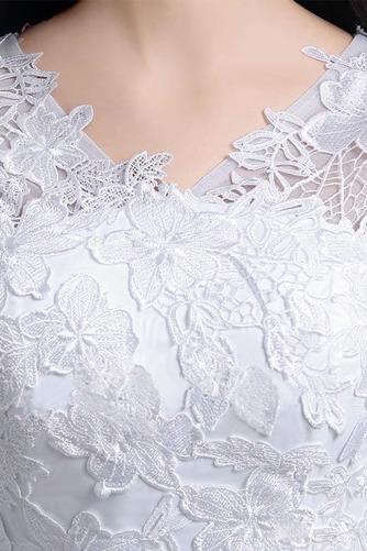 Vestido de novia Apliques Natural Corte-A Alto cubierto Hasta la Rodilla - Página 4