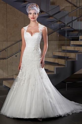Vestido de novia Corte Sirena Apliques Sin mangas Escote Corazón Satén - Página 1
