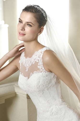 Vestido de novia Pura espalda Apliques Corte-A Encaje Cintura Baja largo - Página 3