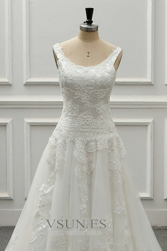 Vestido de novia vendimia Drapeado Corte-A Sin mangas Cola Catedral - Página 5