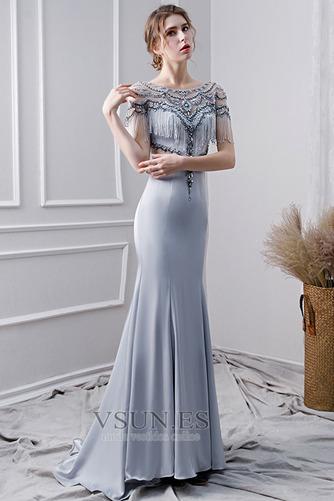 Vestido de noche Elegante Corpiño Acentuado con Perla Natural Satén - Página 3