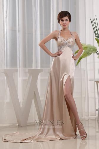Vestido de fiesta Escote halter Sin mangas Corte-A Elegante Hasta el suelo - Página 1