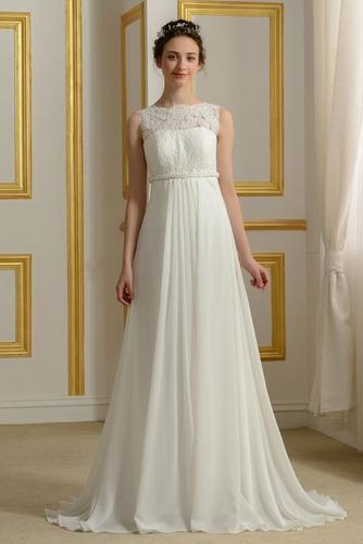 Vestido de novia Imperio primavera Abalorio Barco Embarazadas Gasa - Página 1