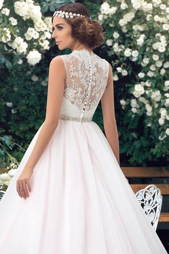 Vestido de novia Elegante Cola Capilla Pura espalda Natural Sin mangas - Página 4