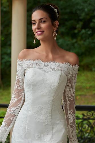 Vestido de novia vendimia Encaje Playa Alto cubierto Manga larga Natural - Página 4
