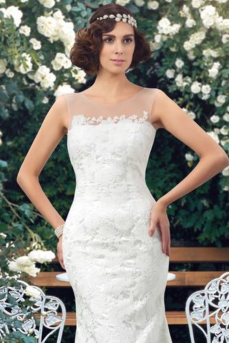Vestido de novia Encaje Barco Natural Corte Recto Sin mangas Drapeado - Página 4