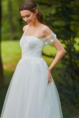 Vestido de novia Romántico Encaje Corte-A Sin mangas primavera Abalorio - Página 5