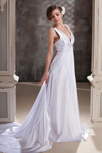 Vestido de novia Satén Hasta el suelo Dobladillos Espalda Descubierta - Página 2