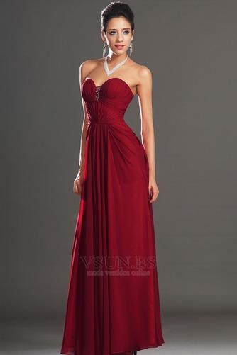 Vestido de noche Rojo Oscuro Sin tirantes Para Imperio Natural Cremallera - Página 5