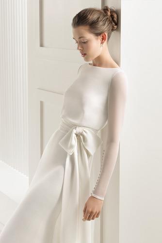 Vestido de novia Corte Sirena Cola Barriba Elegante Drapeado Camiseta - Página 3
