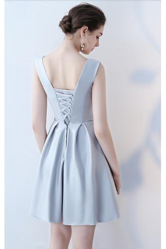 Vestido de dama de honor Cordón primavera Satén Un sólo hombro Sin mangas Bordado - Página 6