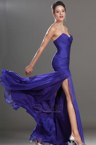 Vestido de fiesta Glamouroso azul medianoche Sin tirantes Hasta el suelo - Página 5
