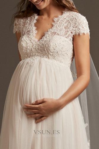 Vestido de novia Embarazadas Elegante Manga tapada largo Manga corta - Página 4