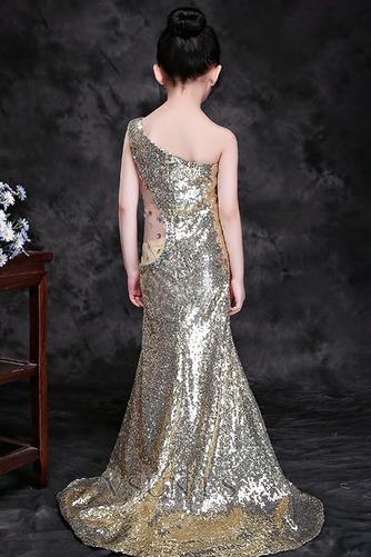 Vestido niña ceremonia Natural Falta Con lentejuelas Corte Sirena Verano Un sólo hombro - Página 2