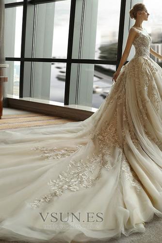 Vestido de novia Escote redondo Sin mangas Corte-A Natural Otoño Cordón - Página 3