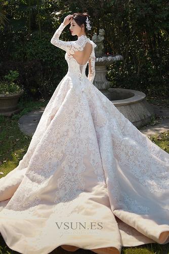 Vestido de novia Cola Real Encaje Camiseta Natural Escote con cuello Alto - Página 2