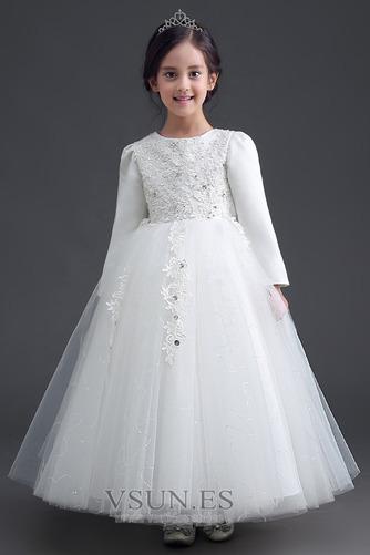 Vestido niña ceremonia Cremallera Joya Satén Arco Acentuado Bordado Formal - Página 1