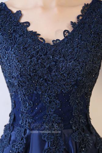 Vestido de fiesta Falta Corte-A Apliques Escote en V Natural Espalda Descubierta - Página 4