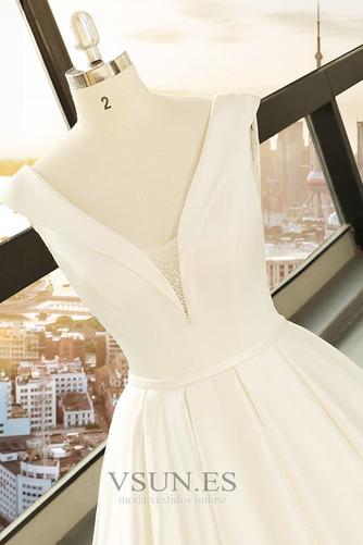 Vestido de novia primavera Baja escote en V Corte-A Drapeado Satén Escote en V - Página 4