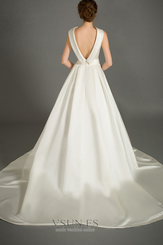 Vestido de novia Sin mangas Lazos Otoño Corte-A Natural Iglesia - Página 2