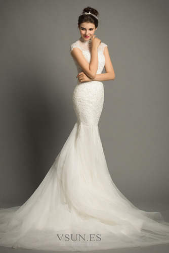 Vestido de novia Apliques Cola Corte Formal Cremallera Corpiño Acentuado con Perla - Página 4