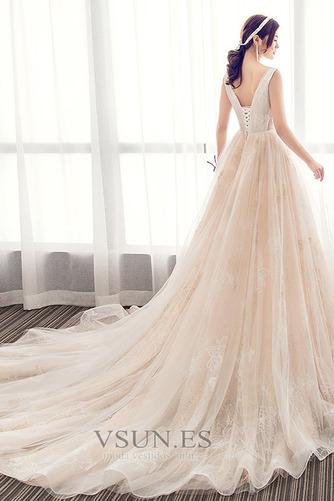 Vestido de novia Corte-A Apliques Baja escote en V Natural Fuera de casa - Página 2