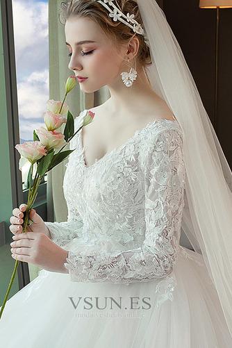 Vestido de novia Capa de encaje Baja escote en V Apliques Formal Corte-A - Página 5