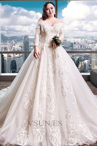 Vestido de novia Elegante Escote con Hombros caídos Capa de encaje Camiseta - Página 1
